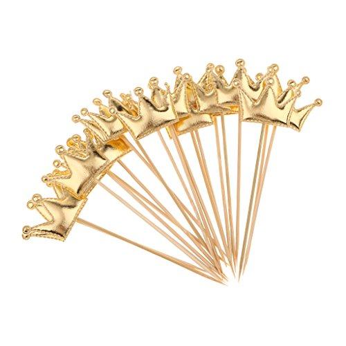Cupcake Topper, Kuchenstecker - 20pcs - Krone Muster - PU Leder - Kuchenaufsatz Cake Topper Muffin Deko Cupcake - Gold, 13 x 4,5 cm ()
