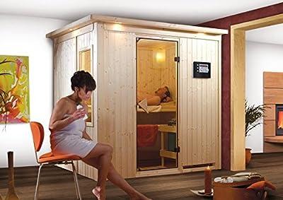 Bodin - Karibu Sauna inkl. 9-kW-Bioofen - mit Dachkranz - von Woodfeeling GmbH auf Du und dein Garten