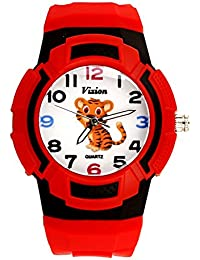 Vizion Analog Multi-Color Dial (TERU -The Little Tiger) Cartoon Character Red Watch for Kids- 8565AQ-6-1