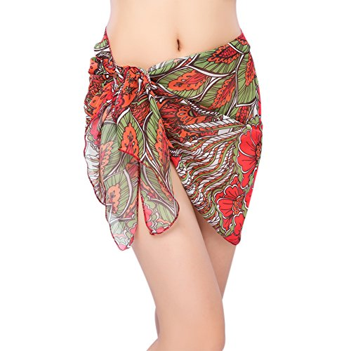 iBaste 2018 Damen Pareo Strand Sarong Sexy Strandrock Strandkleider bikini Cover up mit farbigem Print aus Chiffon (Print-pareo)