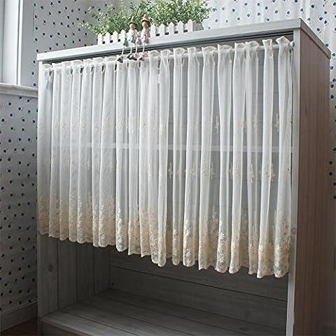 Café Rideaux doux Filet de frais en dentelle à broder Semi–Rideau perforé écrans Rideaux 145cm de large X65cm haute (147,3x 66cm)