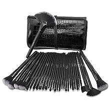 Brochas maquillaje profesional USpicy 32pcs, set de cepillos de maquillaje coméstico para sombra de ojos, colorete, polvo y cejas con bolsa de viaje