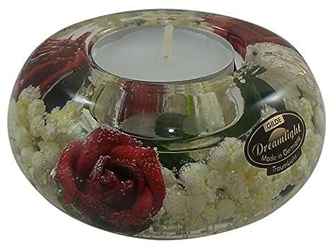 Gilde Dreamlight Ufo Traumlicht - Smart Pretty Rose - Teelichthalter verziert mit roten Rosen und weißen Blüten umhüllt von Gel (Herz Glas Teelicht)