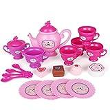Teeservice Kind, Vicoki 19 Teile Tee Set Spielzeug Kaffeeservice Kunststoff Rollenspiele Kinderküche für Kinder Mädchen Jungs 3 Jahre alt