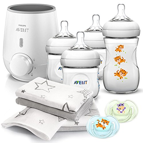 Philips AVENT Baby Premium Starter Set - 11 Teile | Flaschenwärmer Express SCF355/00, 4 PP Flaschen mit Naturnah Saugern, 2x Schnuller Klassik & 4er Pack Mullwindeln