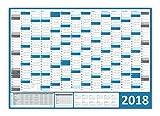 XXL Wandkalender / Wandplaner gerollt 2018 (blau) - DIN A0 Format mit 14 Monaten, kompletter Jahresvorschau 2019 und Ferientermine und Feiertage aller Bundesländer