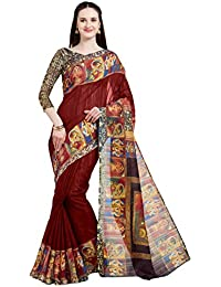 SOURBH Women's Art Silk Digital Border Print Saree (5868_With Color Options)