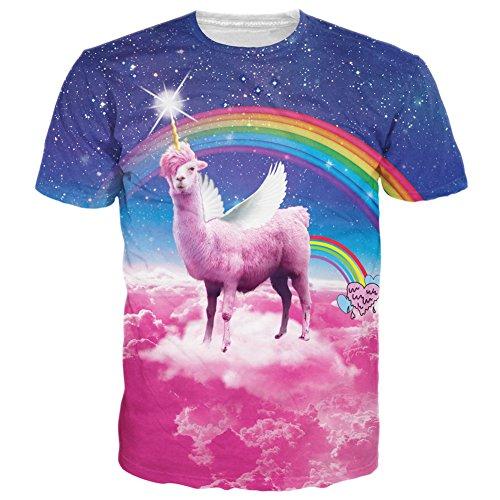 BFUSTYLE Unisex Rainbow Llamacorn Printed Graphic T Shirt Tops