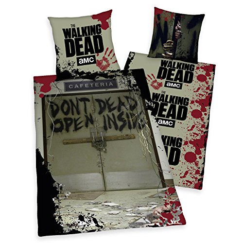 """The Walking Dead Bettwäsche """"DONT OPEN DEAD INSIDE"""" - Fotodruck, aus 100% Baumwolle/Renforce (80x80/135x200cm), mit Reißverschluss."""