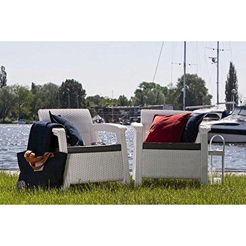JUSTyou Corfu Sofa Couch Gartenbank + Tisch in Rattan-Optik Weiß Grau - 3