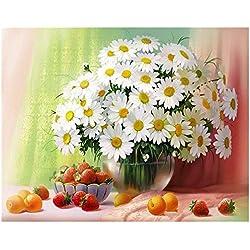 Diy Margaritas Blancas Pintura Por Números Pintura Al Óleo Arte De La Pared Cuadros Decoración Para La Decoración Del Hogar 40x50cm