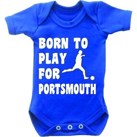 De balón de fútbol looky jugador y balón de para del bebé Portsmouth chaleco de corto de gimnasia de manga body de Mono corto de Grow In color negro y azul y de la blanco diseño bordado con texto