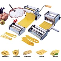 Vivo Heavy Duty 5 in 1 Stainless Steel Professional Fresh Pasta Lasagne Spaghetti Tagliatelle Ravioli Maker Machine Cutter with 3 Cut Press Blade Settings and Table Top Clamp