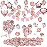 DAYPICKER 65pezzi Decorazione Palloncini Oro Rosa Festone di Palloncini per Compleanno, Banner Compleanno 15 Pezzi Palloncini coriandoli Oro Rosa 30 Pezzi Palloncini Lattice Oro Rosa