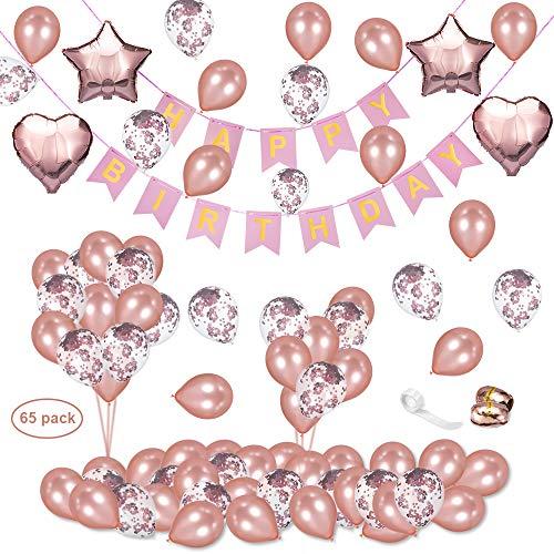 65packs Decoración de cumpleaños en Globo Oro Rosa, DAYPAICKER Banner de cumpleaños 10pcs Globos de Confeti de Rosa 40pcs Globos de látex de Oro Rosa Globos de lámina de 4pcs con 3 Cuerdas de Rollos