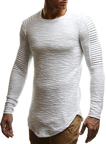 LEIF NELSON Herren oversize Sweatshirt Hoodie Hoody LN6326; Größe M, Ecru