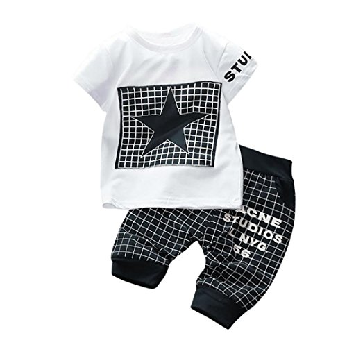 Baby Bekleidung Jungen Mädchen Brief Stern Print Plaid Tops + Hosen Outfits Kleidung Set (Dark...