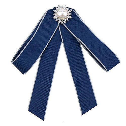 JUNGEN Schleifenbrosche Perle Broschen Damen Broschennadeln Bekleidungs Zubehör, Blau -