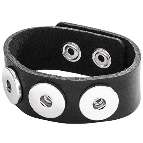 Berydale Damen-Armband Leder 24 cm, schwarz - BD225-200 -