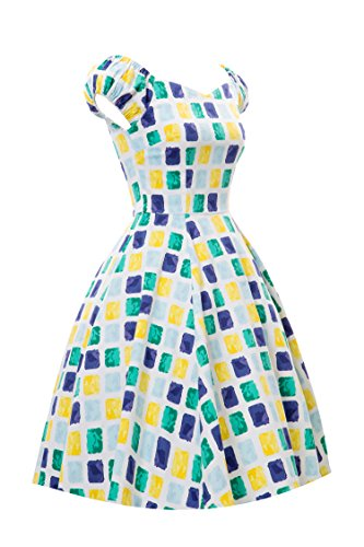 iLover 50s Vintage Rockabilly off shoulder Hepburn Stil Kleid Gitter Partykleid Cocktailkleid Gelb