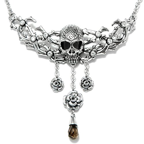 Controse Damen Antik-Optik Silberfarbene Edelstahl Totenkopf und Rosen Halskette 38,1cm-43,2cm Verstellbar -