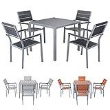 Miweba Bermuda Polywood 4+1 Aluminium Sitzgarnitur 90x90 Alu Gartenmöbel 4 Stühle Sitzgruppe Tisch Holz Gartenset (Schwarz)
