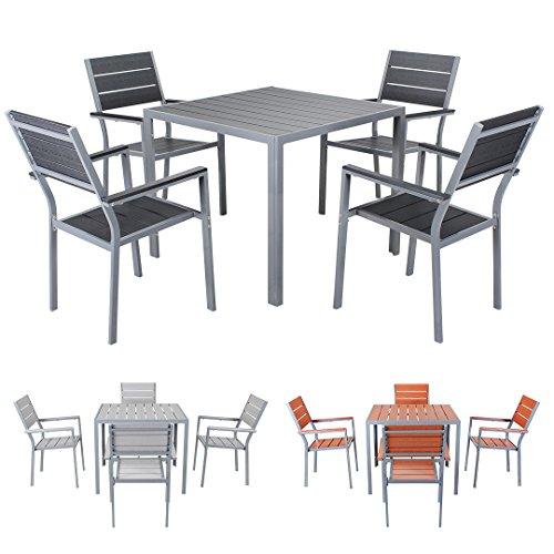 Miweba Bermuda Polywood 4+1 Aluminium Sitzgarnitur 90x90 Alu Gartenmöbel 4 Stühle Sitzgruppe Tisch...