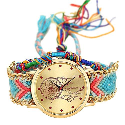 SODIAL Reloj de Pulsera de Correa Trenzada Hecha de mano Atrapasuenos Amistad Reloj de Cuarzo para Mujer - Color 7