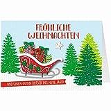 Knopfkarte für Weihnachtsgrüße - X-mas - Fröhliche Weihnachten - Schlitten - 3