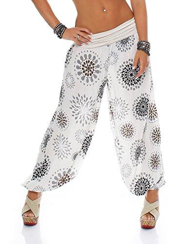 Pantalon ZARMEXX pour femme - Sarouel - Pantalon d'été - Décontracté - Taille unique -  Beige -  38/44 FR