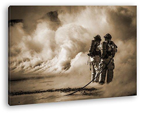 Helden des Feuers - Die Feuerwehr Format: 120x80 Effekt: Sepia als Leinwandbild, Motiv fertig...