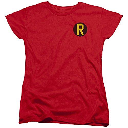 erheld Robin Kostüm R Damen T-Shirt Logo Tee Gr. X-Large, rot (Robin Und Batman Kostüme Für Mädchen)