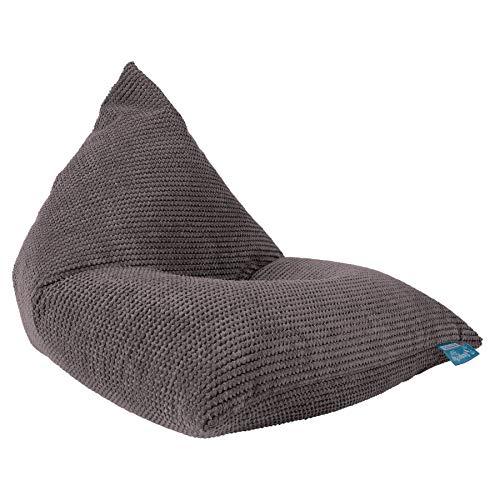 Lounge Pug®, Puff Pera 'Relajarse' para niños, Pompón - Carbón Gri