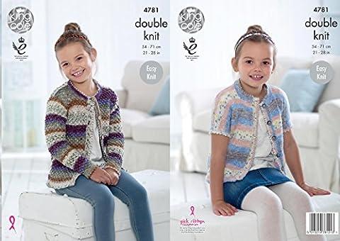 King Cole 4781 Knitting Pattern Girls Easy Knit Long & Short Sleeved Cardigans in Splash DK
