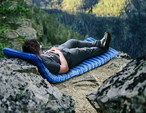 51Ig%2B4riNzL - iNeibo Ultralight Self Inflating Sleeping Pad with Free Pump Pillow - Inflatable Mat Air Mattress for Backpacking, Camping and Hiking, Easy to Carry and Fast Inflate (Blue)