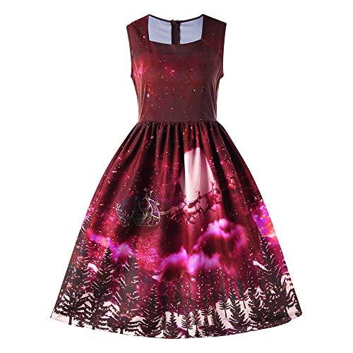 Weihnachten Spitzenkleid Damen,Elecenty Frauen Ärmellos V-Ausschnitt Midikleid Kniekleid Christmas Weihnachtskleid Rockabilly Swing-Kleid