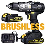 Brushless Perceuse Visseuse sans Fil, TECCPO Professional 60Nm Perceuse a Percussion 18V, 2 Batteries 2.0Ah, 29 Pieces Set d'accessoires-TDHD02P