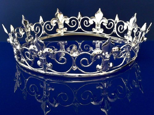 SparklyCrystal Full King's Prom Crown 6027S (Silver) by (Crown Silver Kings)
