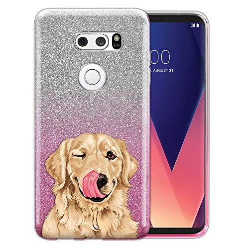 Fincibo Schutzhülle für LG V30 V30+ Plus (15,2 cm / 15,2 cm), glänzender Glitzer, TPU, Motiv: süße Aloof Bulldogge, Cute Winking Golden Retriever -