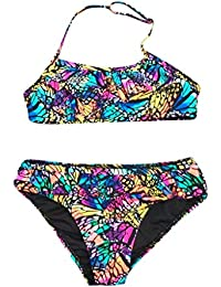 Mitlfuny Bañador Conjuntos Ropa bebé Traje de Baño Niña Playa Piscina Dividir Bikini Mariposa Impresión Cuello Halter Nadando Bañador Cintura Alta Inferior Niñas Chicas 7-14 Años Vacaciones de Verano