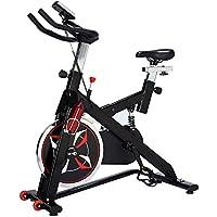 Homcom Vélo d'appartement Cardio vélo Biking écran Multifonction Selle et Guidon réglables Fonction Cardio Noir et Rouge
