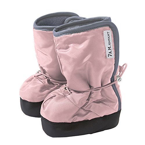 7AM Enfant 500 Soft -Soled Booties, Water Repellent Insulated and Quilted - Rose/Grey, Small