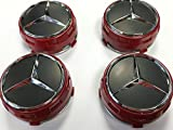 Mercedes AMG Style Alloy Wheel Centre Center Caps Red Centre Lock Design 75mm