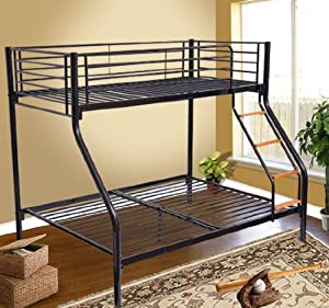 Homcom Bunk Bed Single Double Triple Metal Sleeper Bed Children Kid Frame Furniture Black NEW