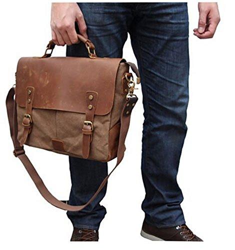 Valuker 1807ka Herren Damen Messenger Bags Handtasche Aktentasche Büffel Leder Tasche Schultertasche Umhängetasche (Kaffee) Kaffee