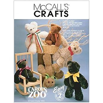 McCalls Crafts Sewing Pattern 6188 Stuffed Animals Teddy Bear Toys ...
