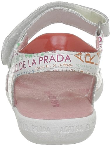 Agatha Ruiz De La Prada Gamatine, Sandales filles Blanc (A-Blanco Estampado Letra)
