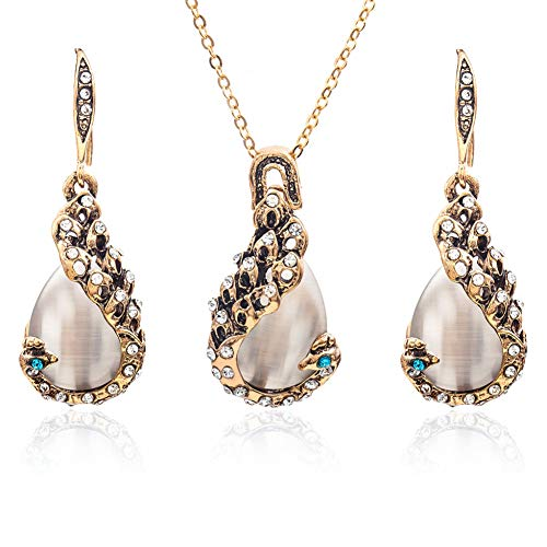 SXXDLL Shiny Opal Star Sunlight Bunte Temperament Halskette Ohrring-Set -