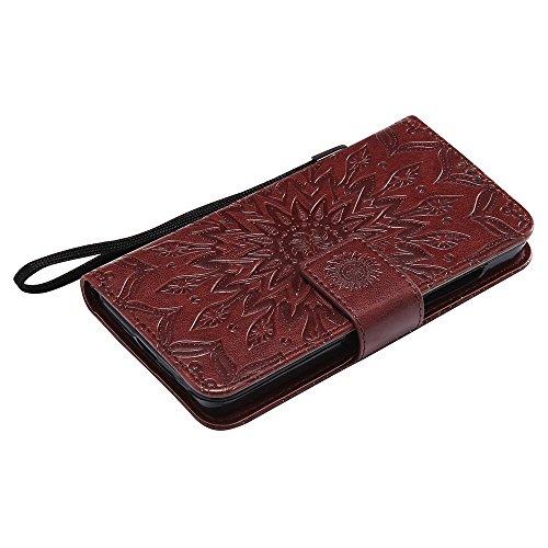 Für Microsoft Nokia Lumia N630 Fall, Prägen Sonnenblume Magnetisches Muster Premium Weiche PU Leder Brieftasche Stand Case Cover mit Lanyard & Halter & Card Slots ( Color : Green ) Brown