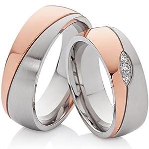 2 Trauringe Eheringe Verlobungsringe Partnerschaftsringe Bicolor rotgold & silbern aus Edelstahl mit 3 Zirkonia und Gravur